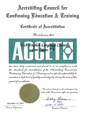 ACCET Certificate USAELC